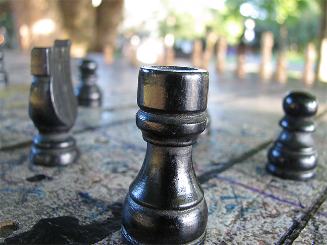 Abandoned chess set